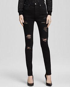 e2c85df827640 True Religion Jeans - Halle High Rise Skinny Destruction in Black Bleach