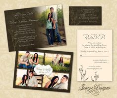 Wedding Invitation Template - Photographers and Photoshop users only - Item WA002 by Jeneze on Etsy https://www.etsy.com/listing/106384176/wedding-invitation-template
