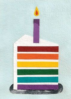 """Birthday Rainbow Cake Card Our """"Rainbow Cake"""" card is lovingly handcrafted in Rwanda by young people who have been orphaned by genocide or disease. All the paper is handmade from local Rwandan office waste, making it environmen Creative Birthday Cards, Girl Birthday Cards, Homemade Birthday Cards, Bday Cards, Creative Cards, Homemade Cards, Birthday Card Making, Birthday Greeting Cards Handmade, Birthday Cake Card"""