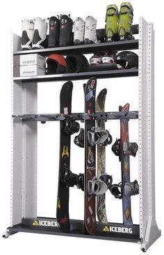 storage rack for skis, snowboard(s), helmets, and maybe skates ski/snowboard boots (remember that skis are much taller than snowboards, might not have enough room for shelf on that part DON'T FORGET ABOUT SNOWSHOES! Boot Storage, Storage Rack, Storage Ideas, Garage Organization, Garage Storage, Organizing Ideas, Ski Rack, Gear Rack, Sports Storage