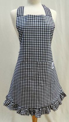 Black and White Gingham Bib-Style Apron - Available in Child and Baby Sizes