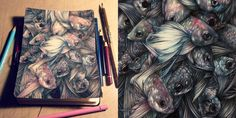 For most of us, a sketchbook is a playground of ideas, random thoughts, and plenty of mistakes. For Milan-based artist Marco Mazzoni it's a place where new artworks are born, realized to perfection from margin to margin. In his colored pencil drawings Mazzoni tends to focus on d
