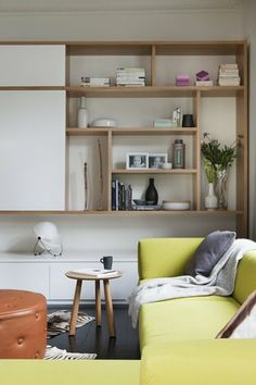 Consider creating shelves custom-sized to accomodate display pieces. Living Room Interior, Home Living Room, Living Spaces, Australian Interior Design, Interior Design Awards, Muebles Living, Apartment Design, Interiores Design, Family Room