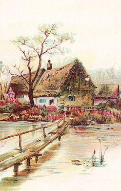 Sweet Vintage Cottage Illustration