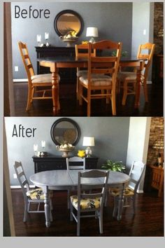 Finally got up the nerve to paint my dinning room table and chairs. Getting rid of boring oak, one project at a time. Refurbished Kitchen Tables, Refurbished Furniture, Upcycled Furniture, Dining Furniture, Furniture Makeover, Dinning Room Tables, Front Rooms, Living Room Grey, Patio
