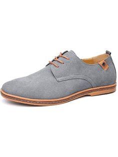 Fansela(TM) Mens PU Leather Suede Lace Up Platform Shoes Size 11.5 Grey ❤ ...