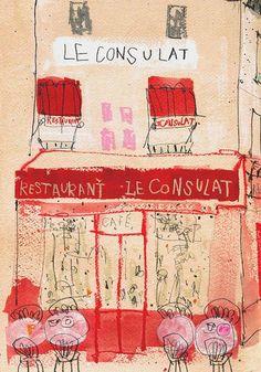 PARIS ART PRINT Restaurant Le Consulat Wall Art par ClareCaulfield