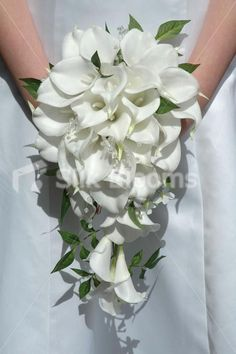 Gorgeous White Calla Lily & Jasmine Cascading Bridal Bouquet. ADD PURPLE ORCHIDS, MINUS THE JEWELS. LOVE LOVE LOVE