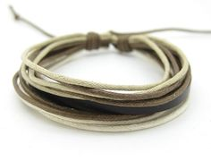Bracelet Cuff made of Leather Cotton Paraffined by beautiful365, $3.00