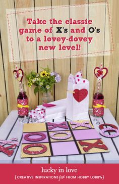 Hobby Lobby Project - Lucky in Love - tic-tac-toe, fabric, crafts, games, valentine's