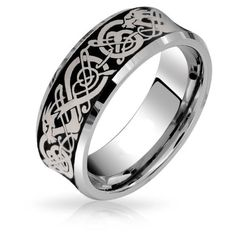 Comfort Fit Concave Black Celtic Dragon Tungsten Wedding Band Ring ($17) ❤ liked on Polyvore featuring men's fashion, men's jewelry, men's rings, black, theme jewelry, mens tungsten wedding rings, mens diamond band wedding ring, mens tungsten rings and mens wedding rings