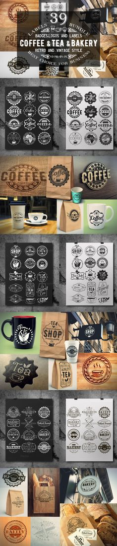 That's 39 vector logo templates that you can use for branding projects, labels, typography and more #design Download: https://creativemarket.com/SiberianArt/367731-39-CoffeeTea-and-Bakery-logo-bundle?u=ksioks
