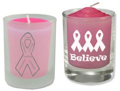 """Cancer Cures Collection  Breast Cancer Awareness  Votive Candle Holders  2 1/2"""" High  Frosted or Clear Glass  As low as $2.50 each"""