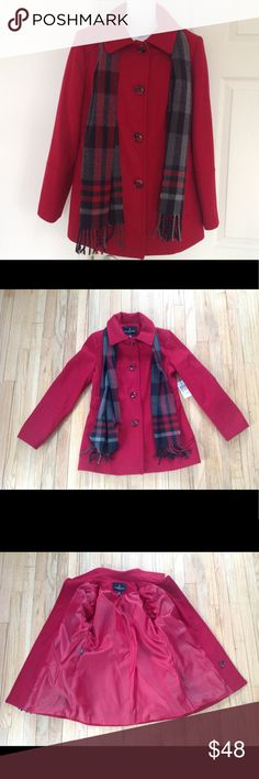 """London Fog Red Women's Pea Coat with Scarf Small London Fog  Women's Pea Coat Red Size Small Includes Black, Grey, and Red Plaid Scarf Button Down Front Two Front Pockets  Shell: 69% wool, 29% polyester, 6% acrylic, 5% other fibers Lining 100% polyester Dry clean only Lying flat Coat measures approximately 19"""" across chest, 18"""" waist, 29"""" long, 18"""" from underarm to end of Sleeve NWT $110 MSRP London Fog Jackets & Coats Pea Coats"""