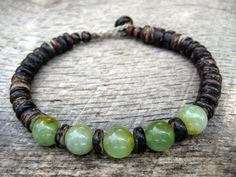 Mens bracelet jade and coconut shell beads by thehappymushroom, £7.20