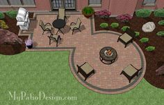 Rectangle Patio Design with Circle Fire Pit Area – MyPatioDesign.com