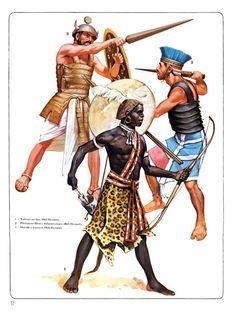 1:Nubian archer,19th Dynasty.2:Philistine Heavy Infantryman,20th Dynasty.3:Sherden warrior,19th Dynasty.