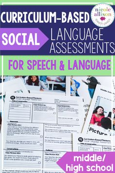 Social Language Assessments for middle school and high school