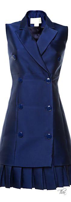 Antonio Berardi ● Resort 2015, Marine Blue Duchess Waistcoat Dress