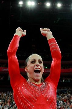 Jordyn Wieber (USA) cheers on her teammates in the Artistic Gymnastics Women's Team final on Day 4 of the London 2012 Olympic Games.