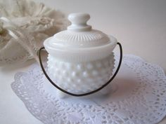 Vintage Milk Glass Hobnail Mustard Kettle but cute for cotton balls in the bathroom, too