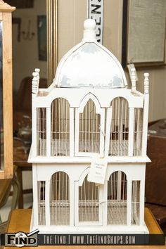 Found at The Find Today! Vintage White Birdcage will make a charming accent piece for your vintage inspired home. Cage has doors on top and bottom levels while the distressed paint on the rooftop adds to the charm.. Visit The Find today for a wonderful assortment of unique items you won't Find anywhere else! The …
