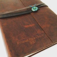 Santa Fe Leather Photo Album With Slip-In Sleeves, personalize with embossing like this Everest Base Camp 2013 Album – from Jenni Bick Bookbinding