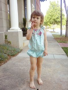 Romper Pattern for summer FREE e-pattern. Note: I like the recommendation of shirring instead of a belt, and elastic straps instead of ties. $FREE