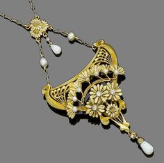 art nouveau floral jewelry | An Art Nouveau opal, seed pearl and diamond brooch/pendant necklace ...