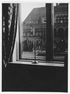 Jewish Hanukkah menorah defies the Nazi swastika, Kiel - Germany, 1931 Jewish Menorah, Jewish Hanukkah, Hanukkah Menorah, Hanukkah Candles, Jewish History, Jewish Art, Rare Historical Photos, Memorial Museum, Rare Photos