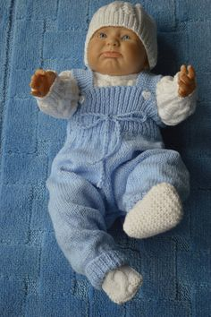 Newborn Baby Boy Dungarees Comming Home Set in Blue and White