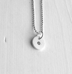 Tiny Initial Necklace Letter e Pendant by GirlBurkeStudios on Etsy