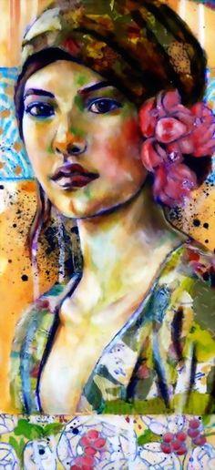 Leo-Vinh- mixed media painting- portrait-- really interesting use of colors!Saudade- Leo-Vinh- mixed media painting- portrait-- really interesting use of colors! Mixed Media Painting, Mixed Media Art, Mixed Media Faces, L'art Du Portrait, Portrait Ideas, Woman Portrait, Art Amour, Art Du Collage, Art Visage