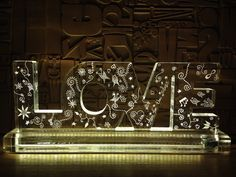 Yael Man art: love.custom made hand carved plexiglass+led light 35cm wide