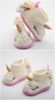 Unicorn Crochet Slippers Gift Idea These Unicorn Crochet Slippers make the perfect gift for yourself or a friend and they are a lovely chunky knit that is super comfy. Crochet Baby Booties, Crochet Shoes, Crochet Slippers, Crochet Toddler, Crochet For Kids, Crochet Ideas, Baby Knitting Patterns, Baby Patterns, Toddler Unicorn Slippers