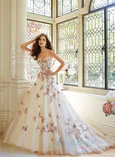 JW15066 unique ivory with burgundy red appliques ball gown wedding dress