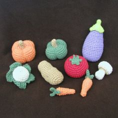 Also for the play kitchen: crochet fruit and veggies.  Again, I need to find a pattern for this!