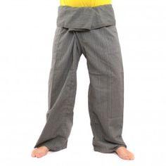 Tailandés pantalón gris de mezcla de algodón extra larga-