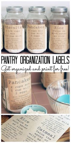Speisekammer-Organisations-Etiketten Print these pantry organization labels for free and add to your kitchen. Labels include recipe so everything can be stored in jars or air tight containers. - Own Kitchen Pantry Pantry Organization Labels, Pantry Labels, Organization Hacks, Kitchen Labels, Pantry Ideas, Organized Pantry, Jar Labels, Organizing Ideas, Kitchen Jars