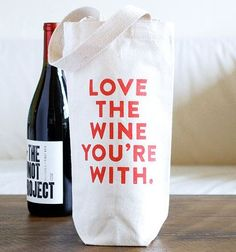 This eco-friendly Love The Wine You're With Tote Bag is handmade by Plate & Pencil using 100% recycled cotton canvas.