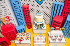 "Super Hero party - the ""buildings"" would be so easy to make out of boxes and paper!"