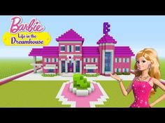 "Minecraft Tutorial: How To Make a Barbie House ""Barbie Life In The Dreamhouse"" - Free Things Disney Minecraft, Plans Minecraft, Minecraft Villa, Cute Minecraft Houses, Minecraft Mansion, Minecraft House Tutorials, Amazing Minecraft, Minecraft House Designs, Minecraft Tutorial"
