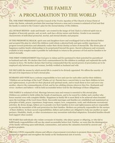 Free Printable Family Proclamation – January 2016 Visiting Teaching Message