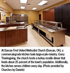 Industrial church kitchens new commercial grade kitchen in expanded parish hall church for Church kitchen designs