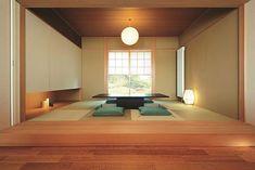 平岡 Japanese Living Room Decor, Japanese Home Decor, Japanese Modern, Japanese House, Japanese Restaurant Interior, Japanese Interior Design, Asian Interior, Japanese Design, Japan Room