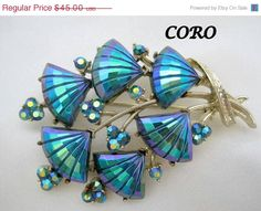 Coro Blue Brooch AB Rhinestone Pin Book Piece by VintagObsessions