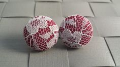 Burgundy with White Lace Fabric Covered Button Post Earrings [3/4 Inch]