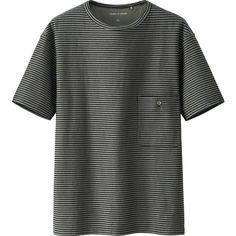 UNIQLO Lemaire Boat Neck Striped Short Sleeve T-Shirt ($21) ❤ liked on Polyvore featuring men's fashion, men's clothing, men's shirts, men's t-shirts, mens short sleeve shirts, mens cotton shirts, mens cotton t shirts, mens short sleeve t shirts and mens striped shirt