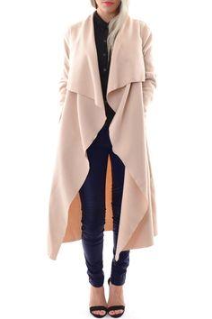 Turn-Down Collar Pocket Design Coat