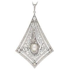 Art Deco natural pearl and diamond filigree pendant, French, circa 1920.